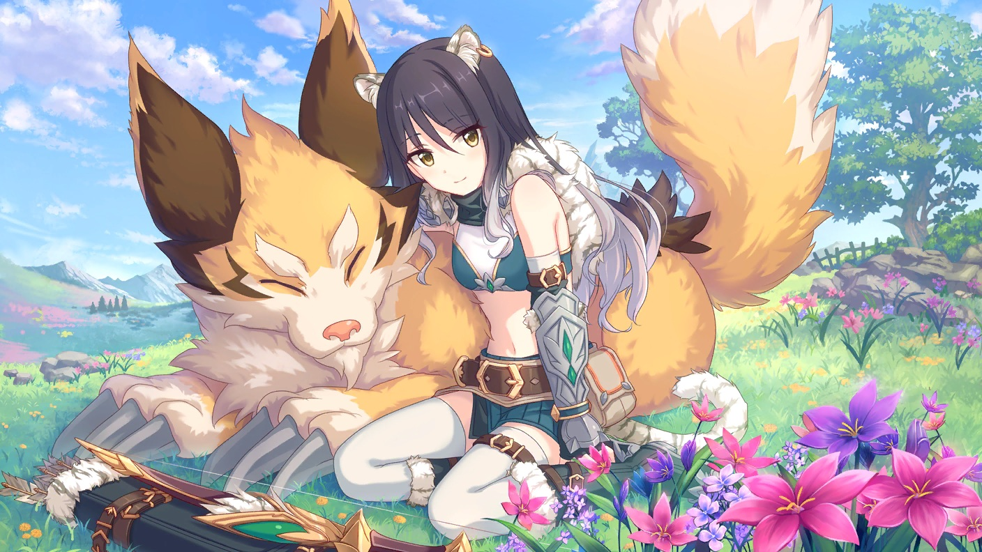 animal animal_ears armor black_hair boots bow_(weapon) catgirl clouds elbow_gloves flowers gloves grass kashiwazaki_shiori long_hair navel princess_connect! skirt sky tagme_(artist) tail thighhighs tree weapon yellow_eyes