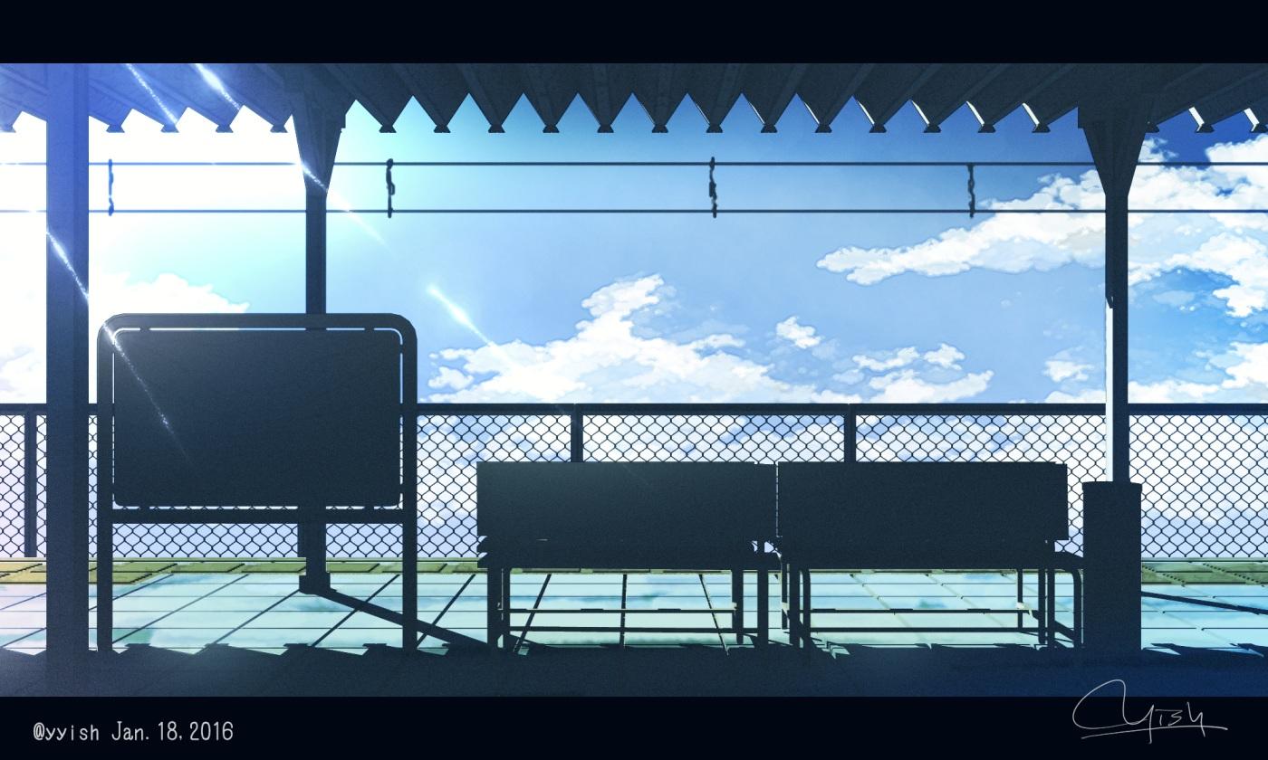 clouds nobody original signed silhouette train waisshu_(sougyokyuu) watermark