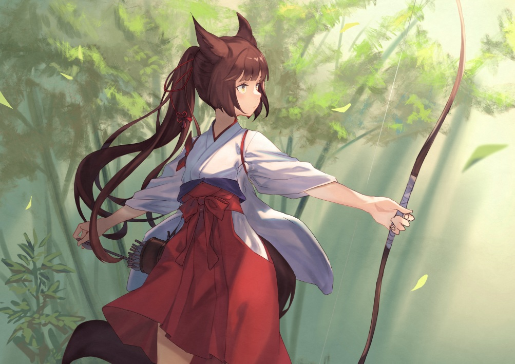 animal_ears bow bow_(weapon) brown_hair forest foxgirl japanese_clothes long_hair miko original peroncho ponytail tail tree weapon yellow_eyes