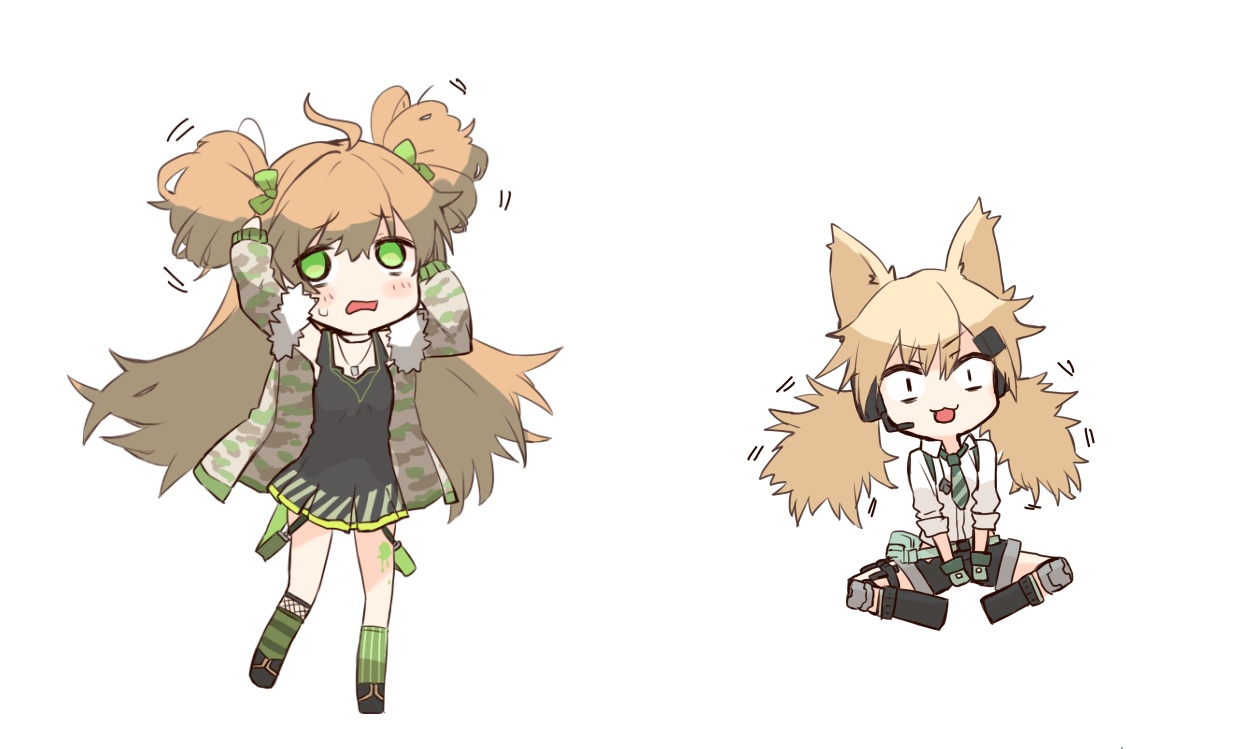 2girls animal_ears anthropomorphism blonde_hair brown_hair catgirl cat_smile chibi dress ganesagi girls_frontline green_eyes idw_(girls_frontline) kneehighs long_hair microphone necklace rfb_(girls_frontline) shirt shorts summer_dress tie twintails white