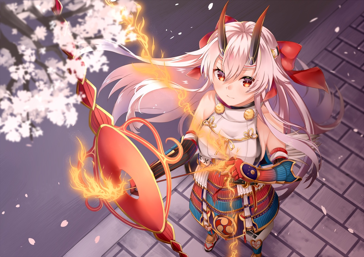 armor bow bow_(weapon) elbow_gloves fate/grand_order fate_(series) fire flowers gloves headband horns long_hair magic mashiro_aa orange_eyes petals samurai tomoe_gozen weapon white_hair