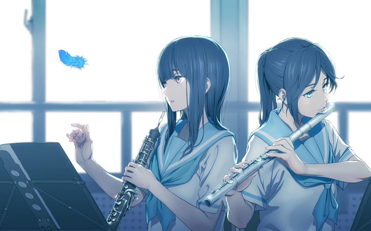 2girls aliasing aqua_eyes black_hair feathers flute hibike!_euphonium instrument kasaki_nozomi koubakotone liz_to_aoi_tori long_hair pink_eyes ponytail school_uniform yoroizuka_mizore