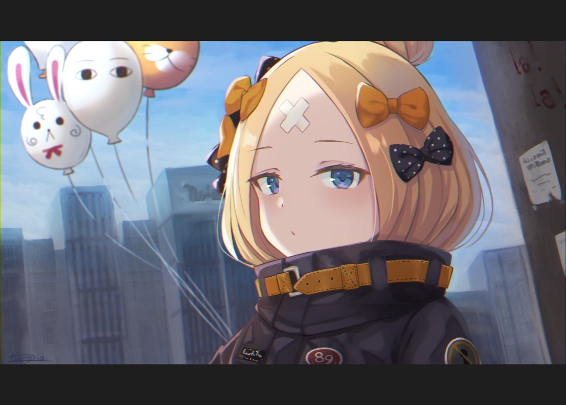 abigail_williams_(fate/grand_order) bandaid blonde_hair blue_eyes bow building city close clouds fate/grand_order fate_(series) paper razaria signed sky
