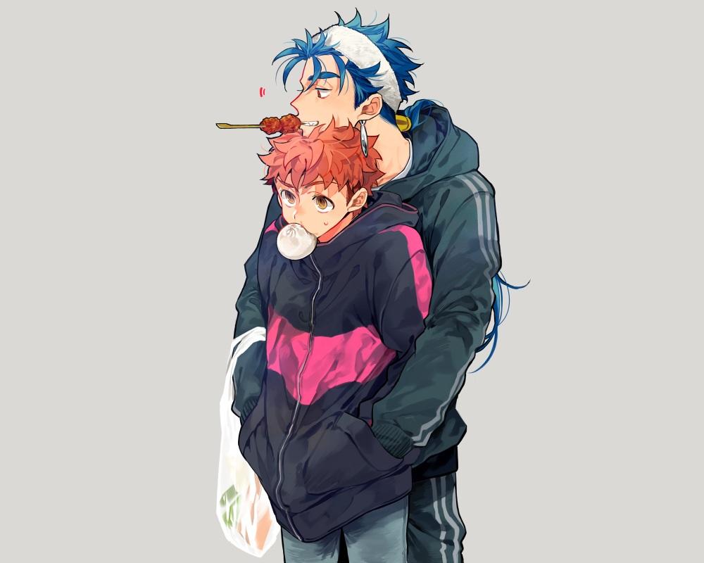 all_male blue_hair brown_eyes cu_chulainn emiya_shirou fate_(series) fate/stay_night food gray headband hoodie long_hair male ponytail red_eyes red_hair short_hair shounen_ai tatsuta_age