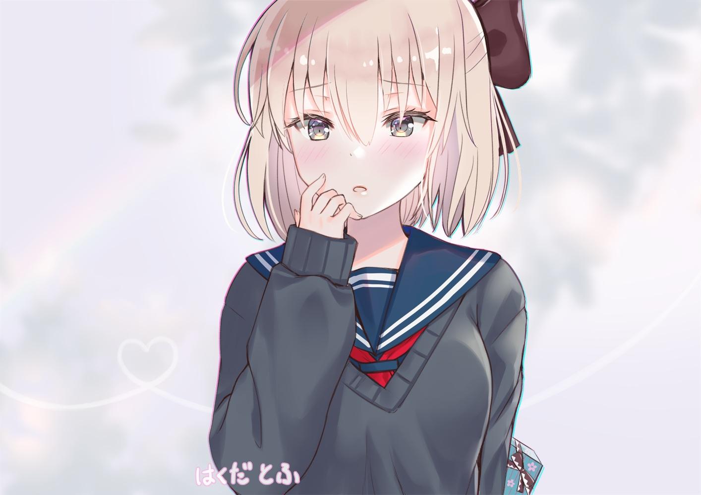blonde_hair blush fate/grand_order fate_(series) hakudatofu okita_souji_(fate) school_uniform short_hair watermark