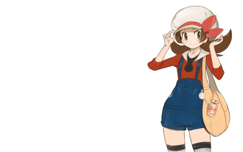 brown_eyes brown_hair hat kotone_(pokemon) pokemon white