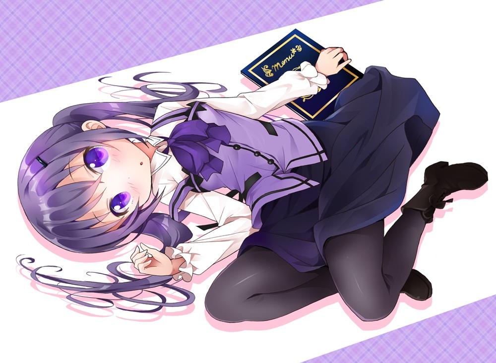 blush bow gochuumon_wa_usagi_desu_ka? long_hair pantyhose purple_eyes purple_hair ratryu skirt tedeza_rize twintails waitress