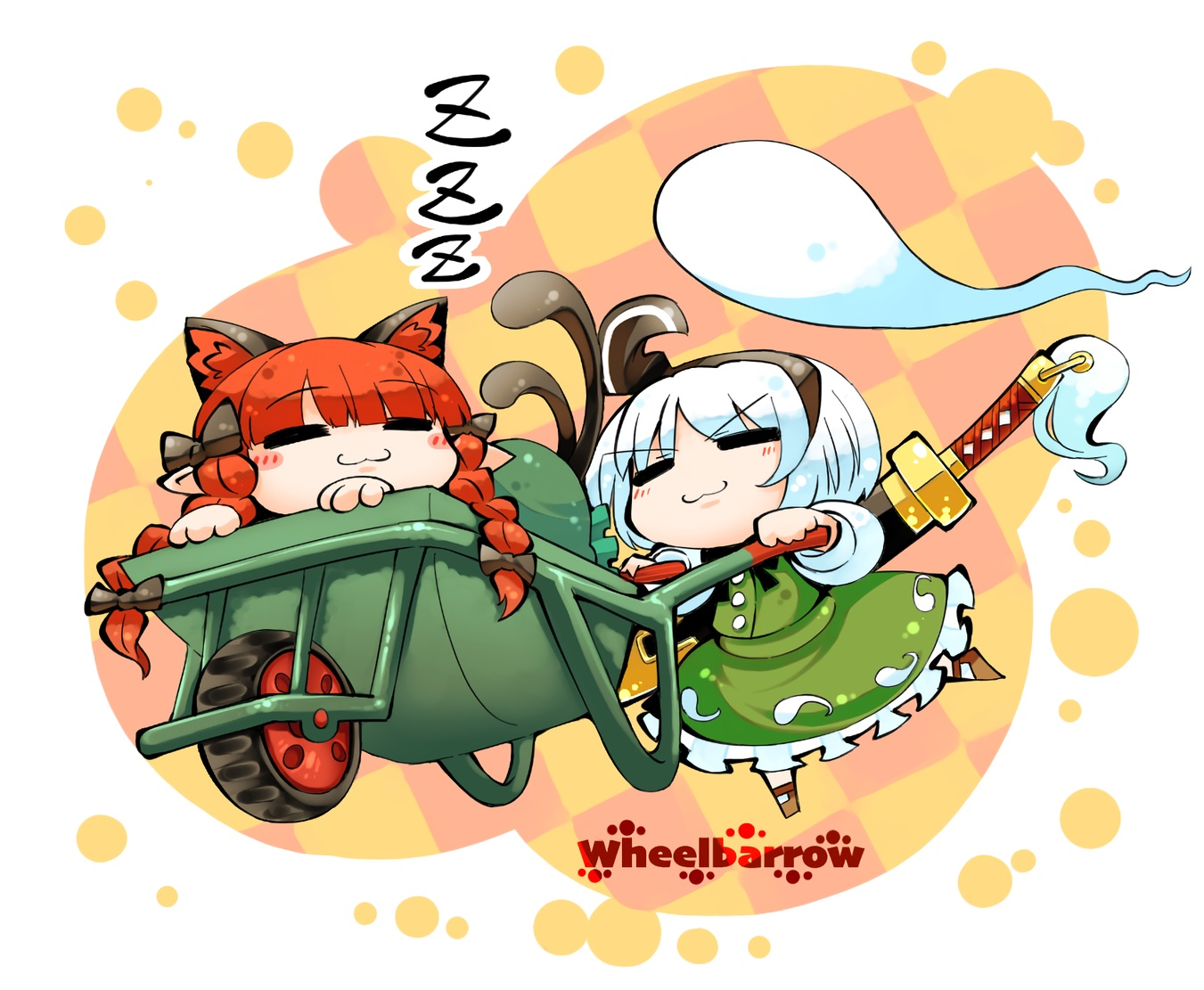 2girls animal_ears braids catgirl cat_smile headband kaenbyou_rin kashuu_(b-q) konpaku_youmu long_hair multiple_tails myon pointed_ears red_hair short_hair skirt sleeping sword tail touhou twintails waifu2x weapon white_hair