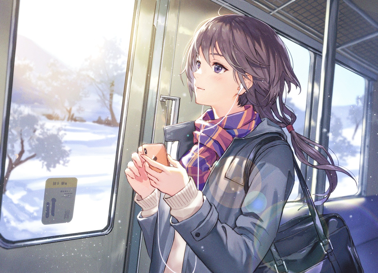 black_hair blush haru_(hiyori-kohal) headphones original phone ponytail purple_eyes scarf school_uniform snow train tree winter
