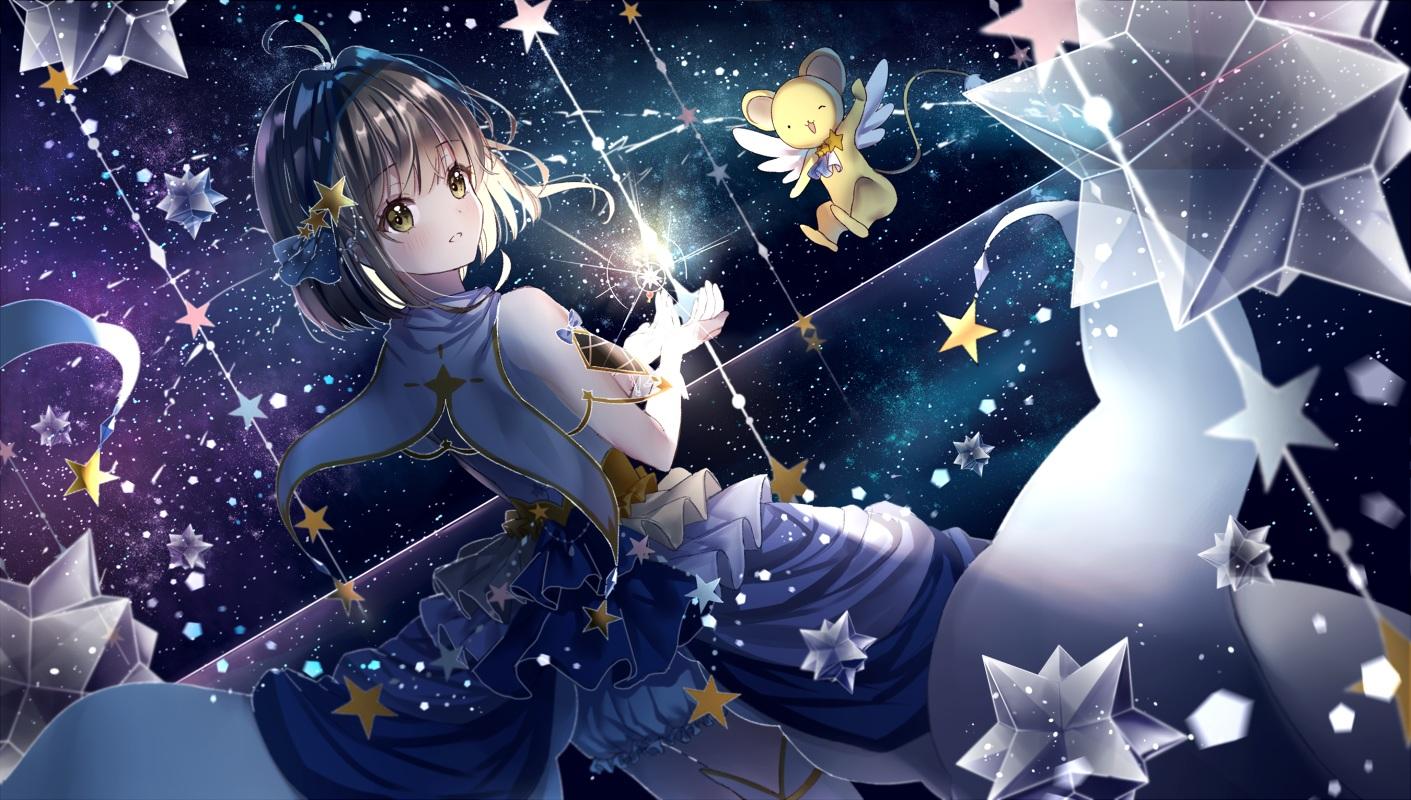 bloomers brown_hair card_captor_sakura dress gloves green_eyes kero kinomoto_sakura lium reflection short_hair stars thighhighs
