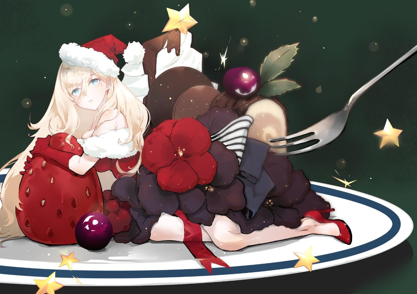 anthropomorphism blonde_hair breasts cake chocolate christmas dress flowers food fruit green_eyes hat kantai_collection long_hair nello_(luminous_darkness) richelieu_(kancolle) santa_hat strawberry