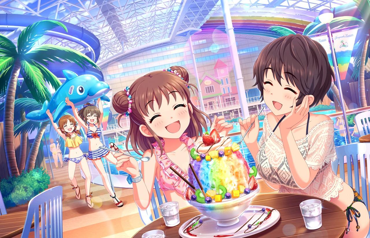 annin_doufu bikini food fruit group hori_yuuko idolmaster idolmaster_cinderella_girls idolmaster_cinderella_girls_starlight_stage katagiri_sanae munakata_atsumi oikawa_shizuku pool strawberry swimsuit