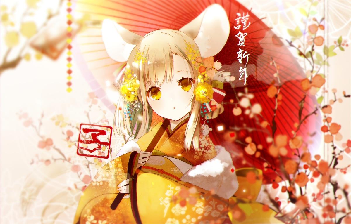 animal_ears blonde_hair flowers japanese_clothes kimono mousegirl original yellow_eyes yuzuyomogi