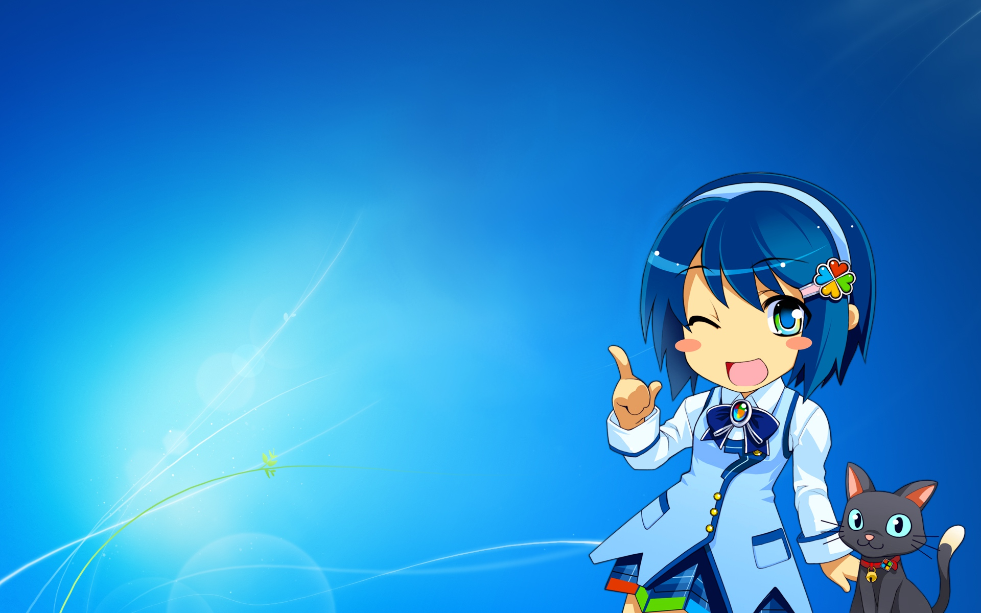 animal blue blue_eyes blue_hair bow cat headband madobe_nanami microsoft os-tan short_hair skirt windows wink