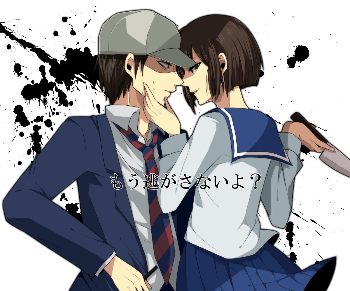 atsumi-sama brown_hair danshi_koukousei_no_nichijou habara_(danshi_koukousei) hat karasawa_toshiyuki knife school_uniform short_hair tie