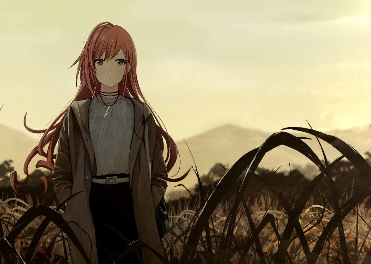 arisugawa_natsuha brown_eyes brown_hair grass idolmaster idolmaster_shiny_colors long_hair necklace sakeharasu