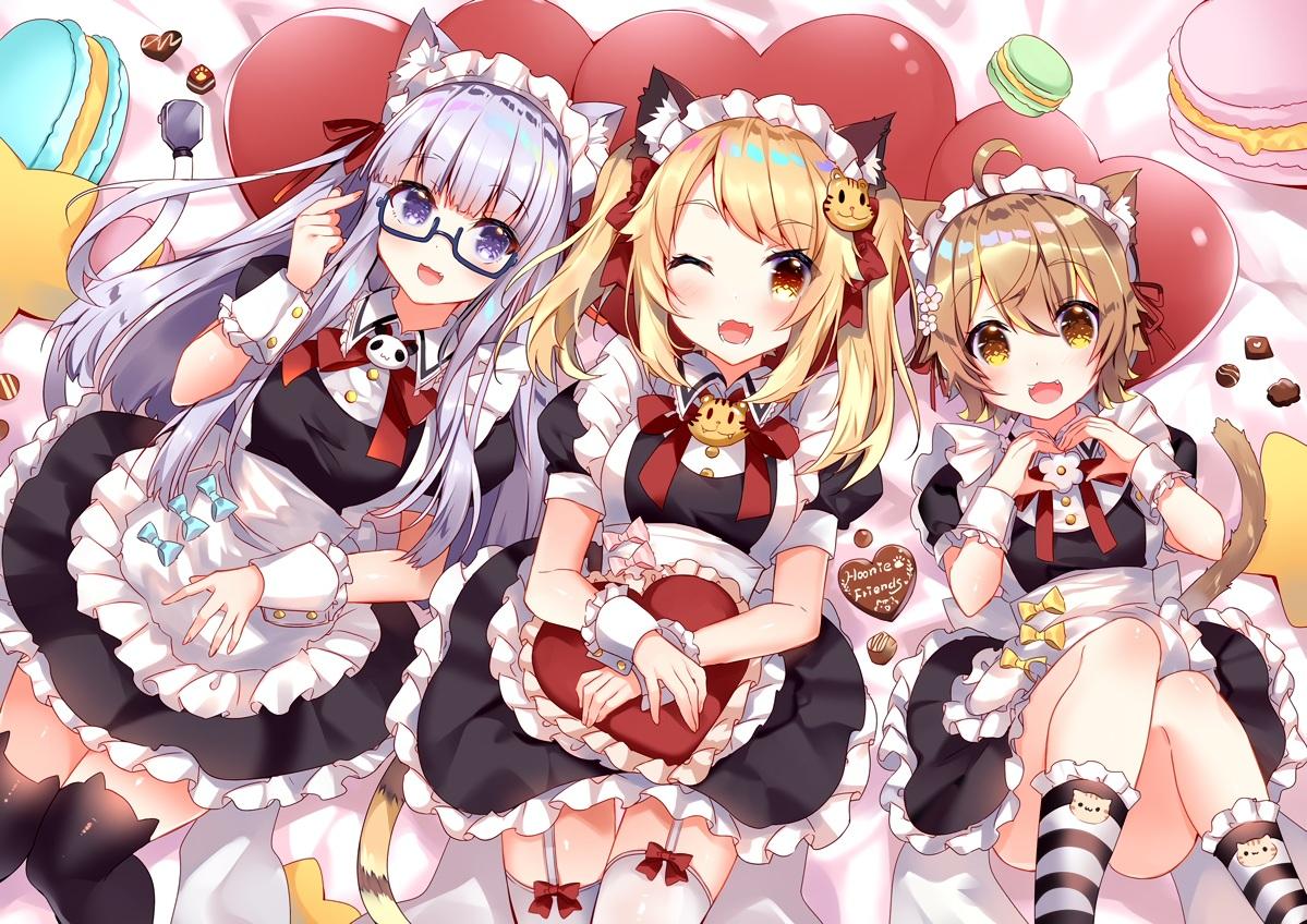 animal_ears annin_miru annin_miru_channel apron catgirl chocolate crossover garter_belt glasses hoonie_friends hoonie_(hoonie_friends) maid orisu_(hoonie_friends) stockings tail usagihime valentine zettai_ryouiki