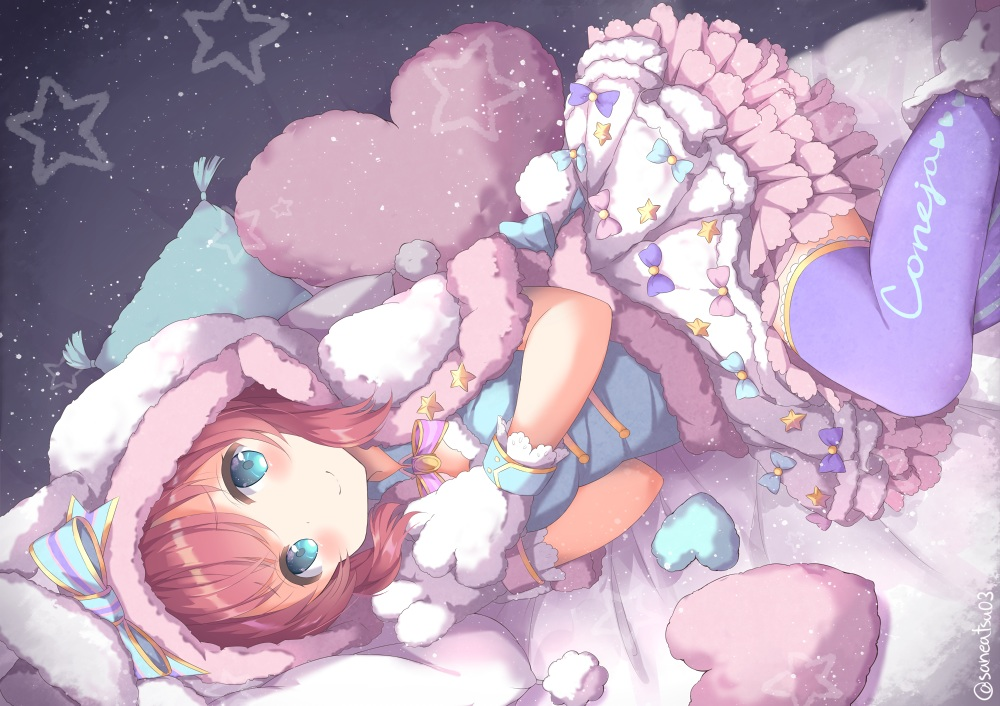 animal_ears aqua_eyes bed bow bunny_ears cape gloves hoodie kurosawa_ruby lolita_fashion love_live!_school_idol_project love_live!_sunshine!! niwasane_(saneatsu03) red_hair short_hair signed tail thighhighs