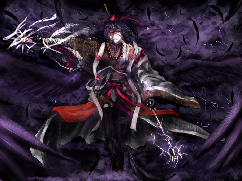 bandage chama_(painter) feathers gloves hat mage magic mask necklace red_eyes shameimaru_aya short_hair staff touhou wings