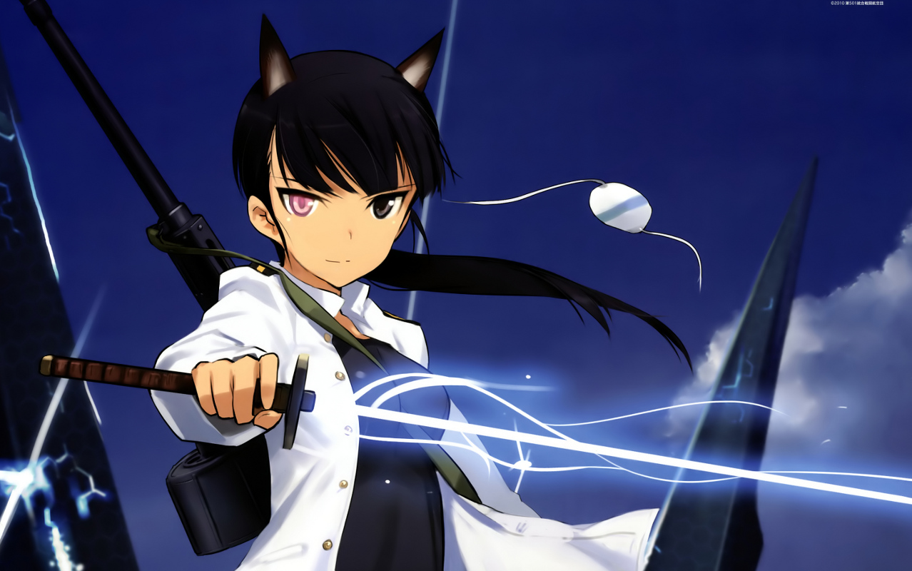 animal_ears bicolored_eyes black_hair gun katana long_hair sakamoto_mio shimada_fumikane strike_witches sword watermark weapon