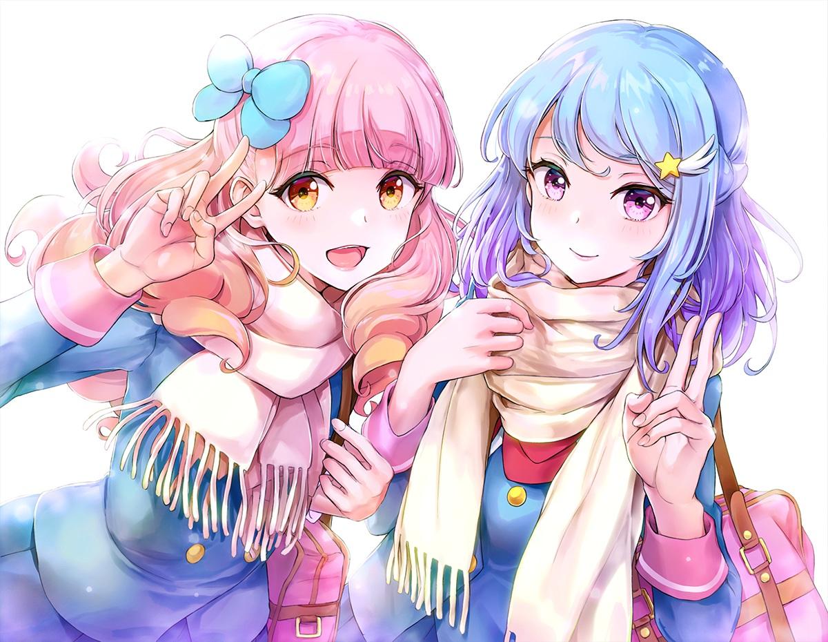 2girls aikatsu! blue_hair blush bow long_hair minato_mio pink_hair purple_eyes scarf school_uniform tokeshi yellow_eyes yuuki_aine