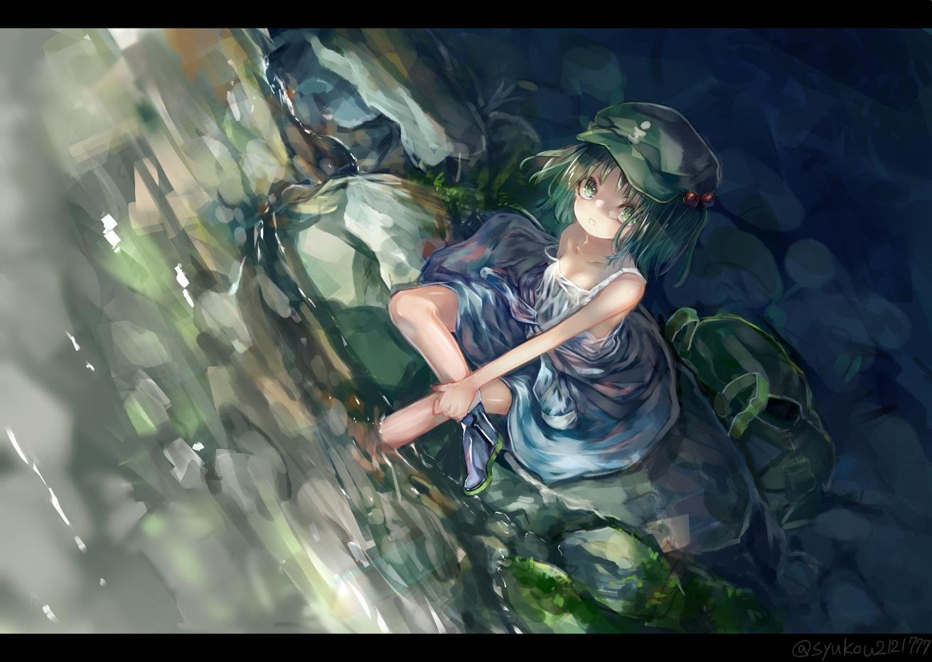breasts cleavage dress green_eyes green_hair hat kawashiro_nitori short_hair signed touhou water zhu_xiang