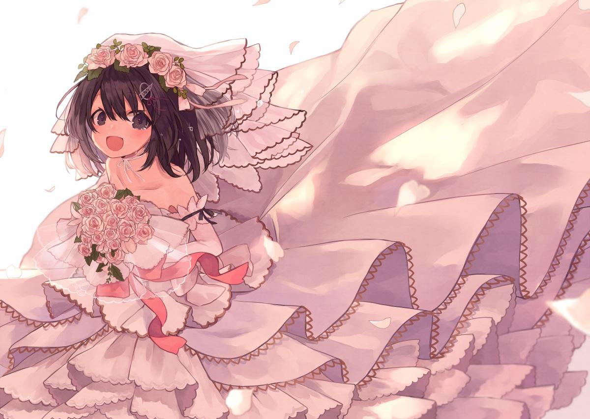 anthropomorphism brown_eyes brown_hair choker flowers haguro_(kancolle) haruka_(reborn) headdress kantai_collection rose wedding_attire