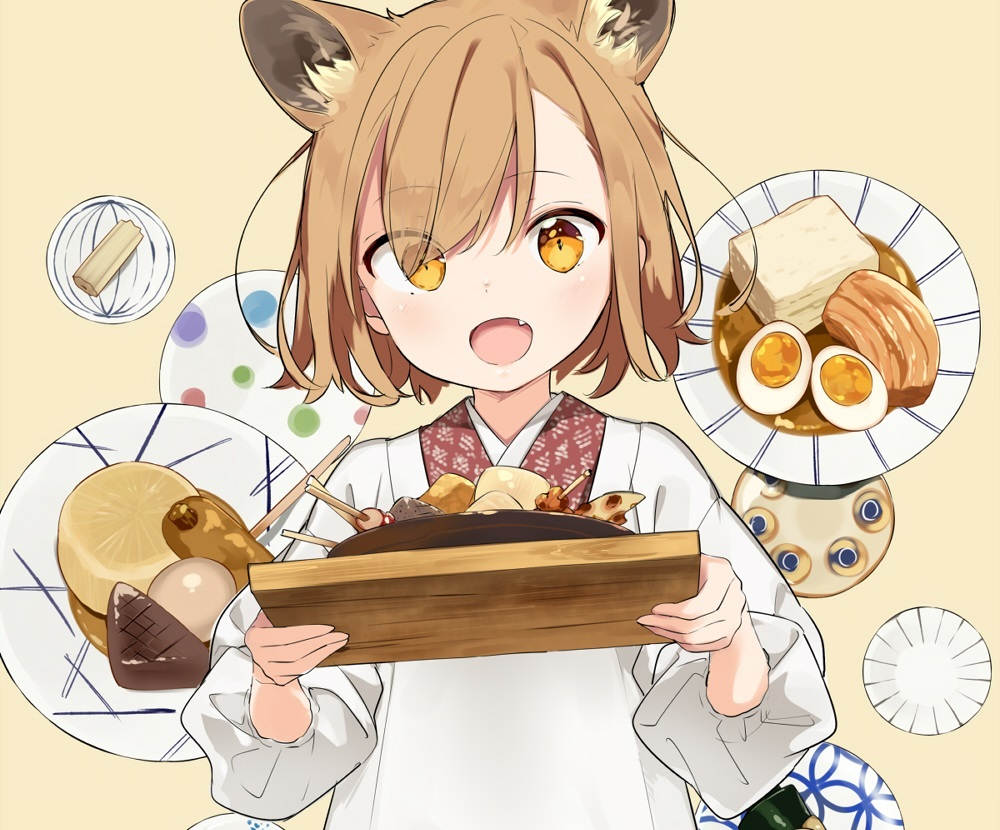 animal_ears apron brown_hair cropped fang food japanese_clothes loli original sama short_hair yellow_eyes