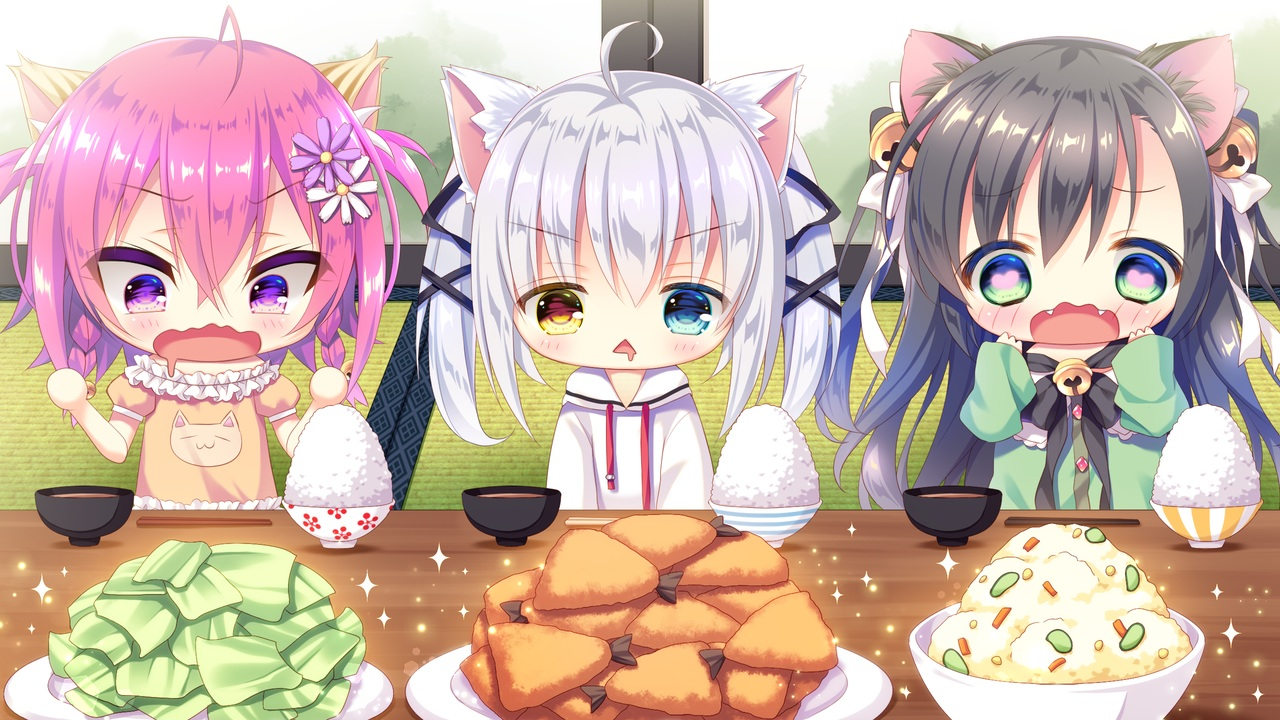 animal_ears bicolored_eyes black_hair catgirl chibi food game_cg green_eyes koneko_neko_neko long_hair nekohata_miyabi nekokawa_shirone nekoya_kohina noda_shuha purple_eyes skyfish tagme_(artist) white_hair