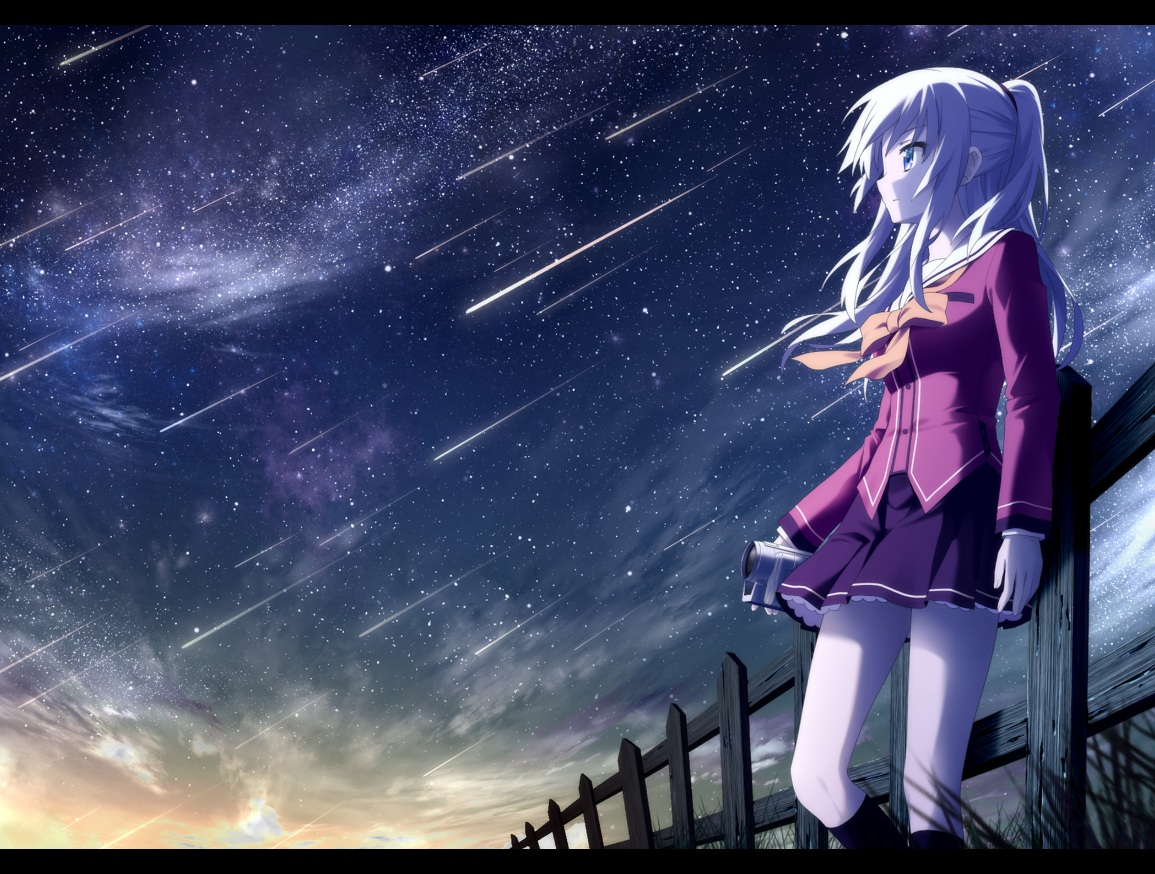 blue_eyes bow camera charlotte gray_hair haribote_(tarao) kneehighs long_hair night ponytail school_uniform skirt sky stars sunset tomori_nao