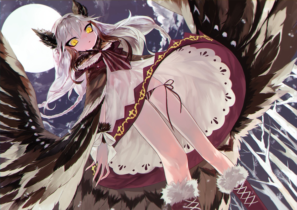 animal_ears anthropomorphism boots dress judy6241 long_hair moon original white_hair wings yellow_eyes