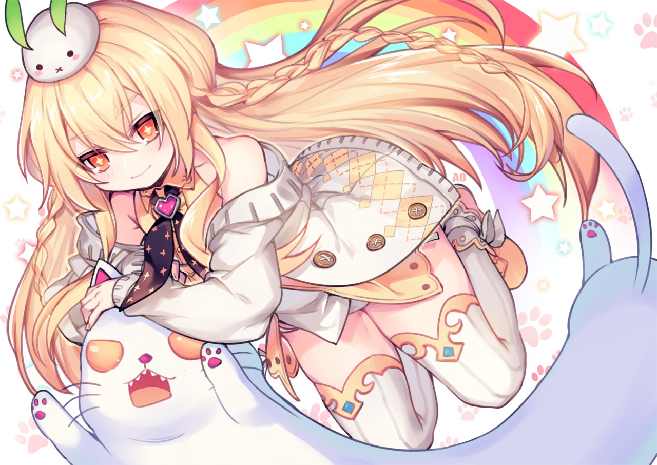 animal blonde_hair braids bunny cat closers long_hair orange_eyes rainbow tagme_(character) thighhighs utm waifu2x watermark zettai_ryouiki