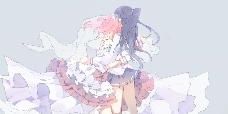 2girls black_hair bow dress hug kurosawa_ruby long_hair love_live!_school_idol_project love_live!_sunshine!! mashiro_(rikuya) matsuura_kanan ponytail red_hair school_uniform skirt twintails