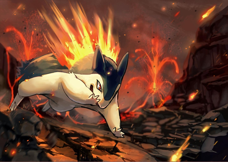fire pokemon ruins tagme_(artist) typhlosion waifu2x