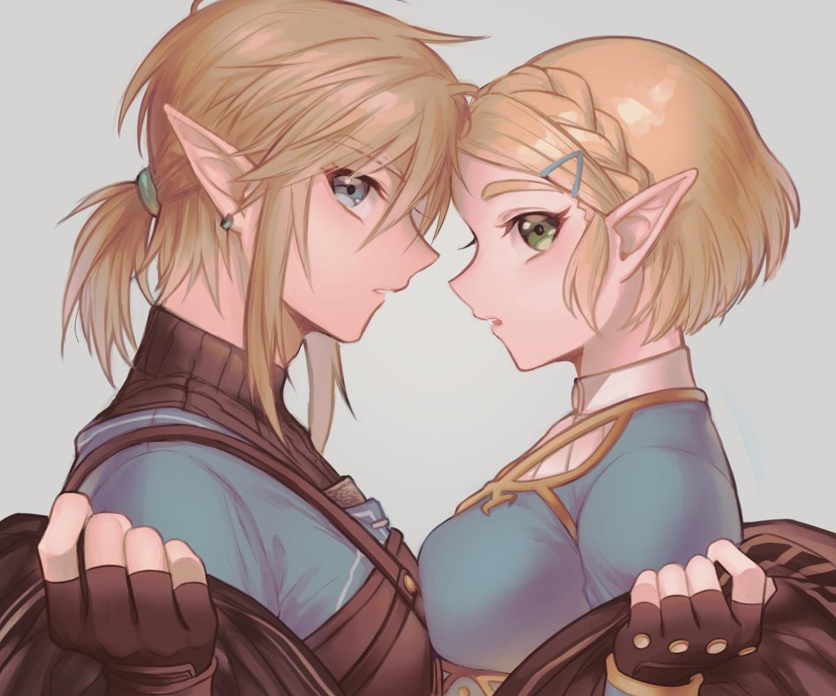 blonde_hair blue_eyes braids close cropped gloves green_eyes link_(zelda) loz_017 male pointed_ears ponytail princess_zelda short_hair the_legend_of_zelda