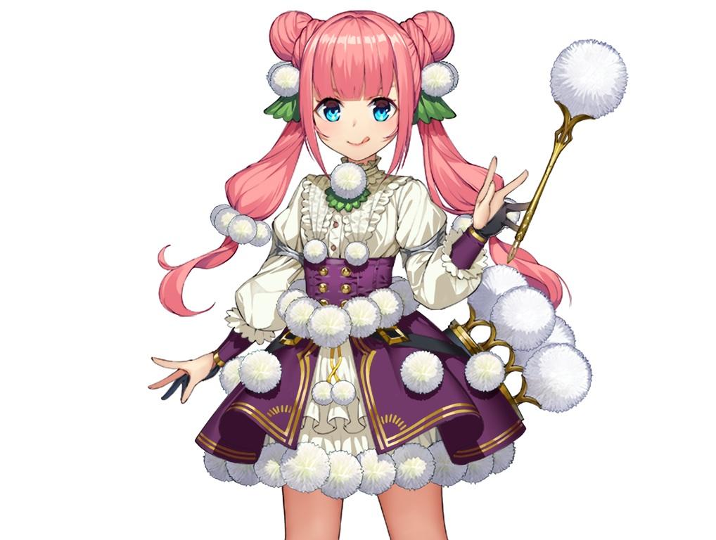 anthropomorphism aqua_eyes berzelia_(flower_knight_girl) cropped dress flower_knight_girl pink_hair soratobuiltusa twintails waifu2x wand white