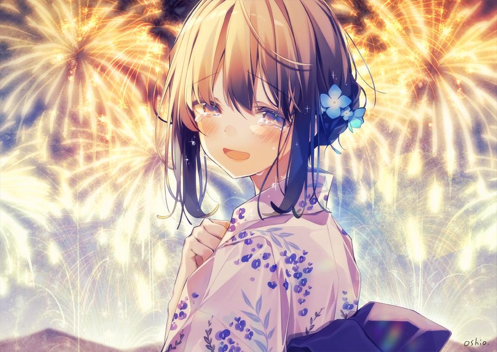 blush brown_eyes brown_hair close crying fireworks japanese_clothes original oshio_dayo short_hair signed summer tears yukata