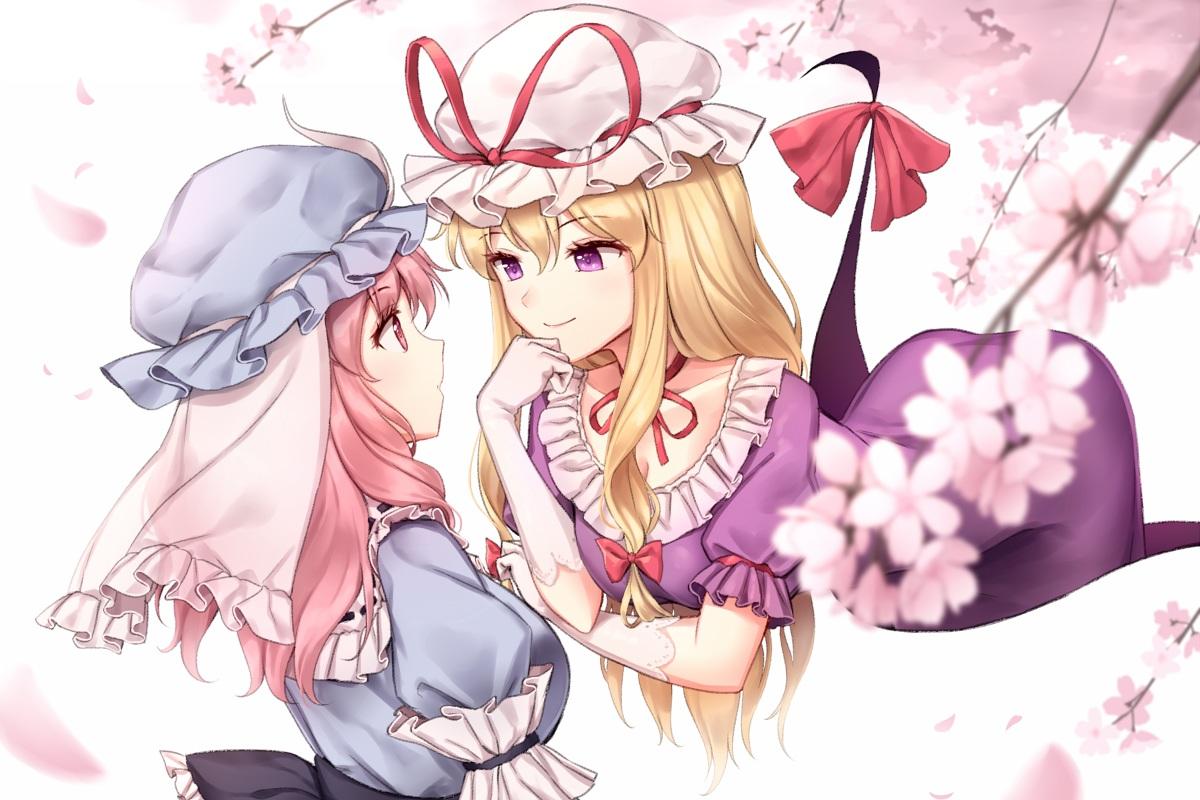 2girls blonde_hair bow breasts cherry_blossoms cleavage dress elbow_gloves flowers gloves hat long_hair minust petals pink_eyes pink_hair purple_eyes saigyouji_yuyuko touhou yakumo_yukari