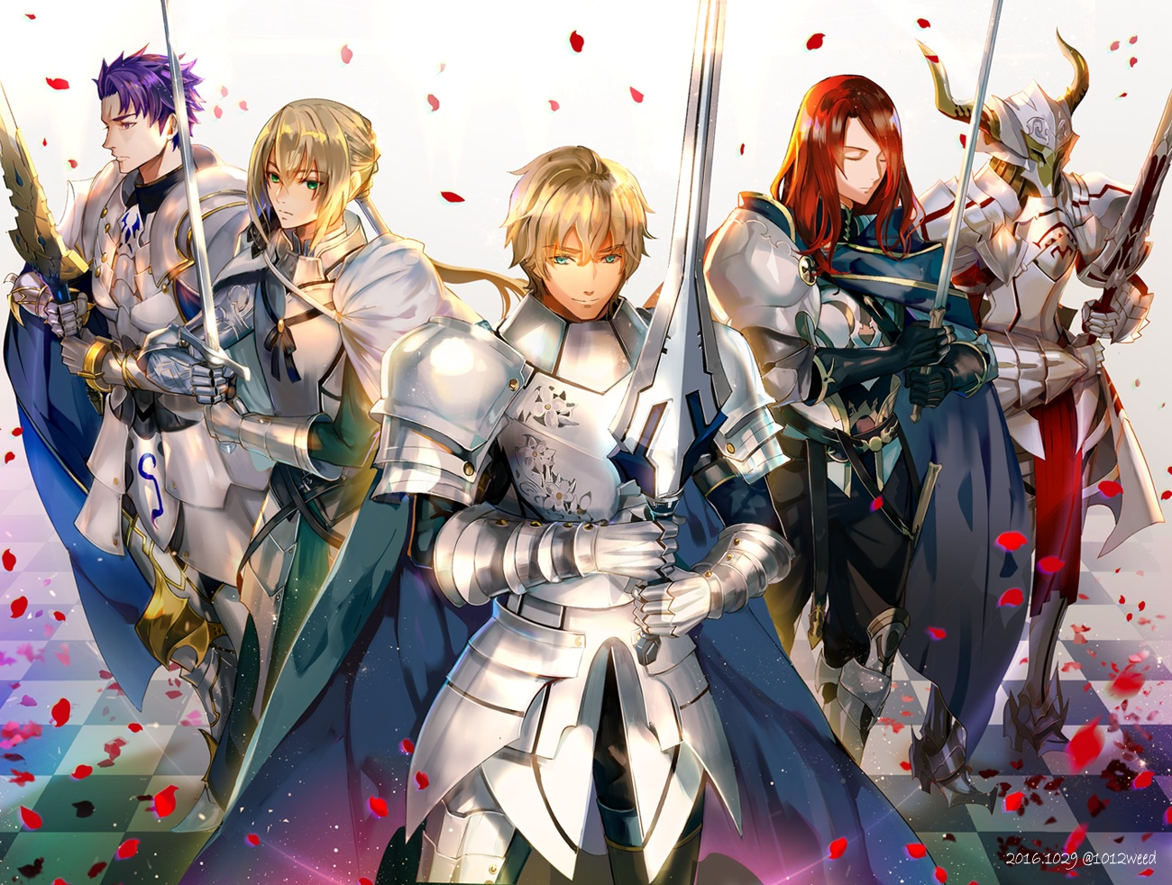 aqua_eyes armor bedivere blonde_hair boots cape fate/grand_order fate_(series) gawain gloves green_eyes group horns lancelot_(fate) long_hair male mordred petals ponytail purple_hair red_hair short_hair sword tristan_(fate/grand_order) watermark weapon weed