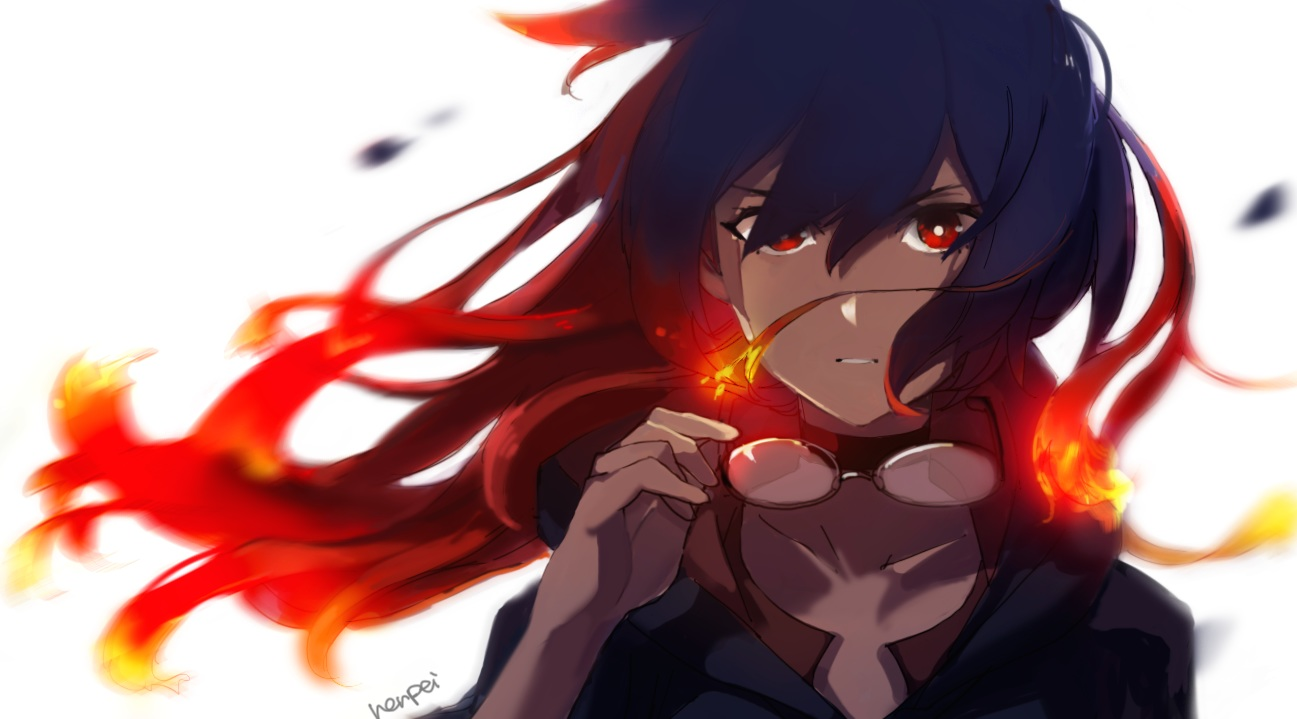 blue_hair fire glasses henpei_saboten little_witch_academia long_hair red_eyes red_hair signed ursula_charistes