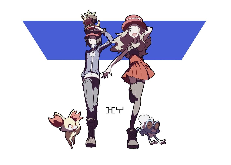calme_(pokemon) chespin domu_(hamadura) fennekin froakie male pokemon serena_(pokemon)