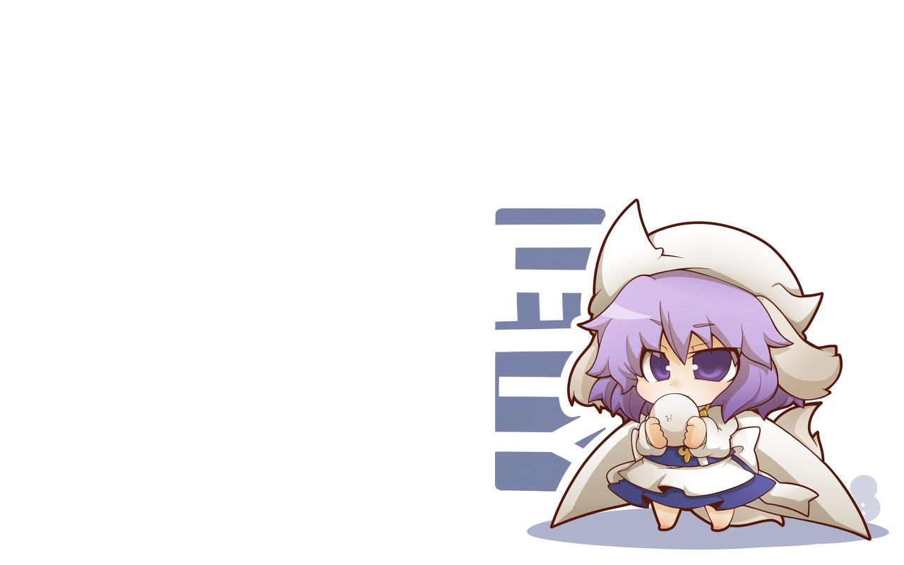 chibi hat letty_whiterock purple_eyes purple_hair short_hair touhou white