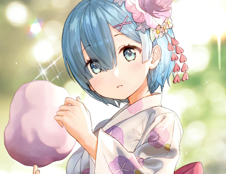 aqua_eyes aqua_hair blush candy close cropped flowers gio_(maroon0924) japanese_clothes rem_(re:zero) re:zero_kara_hajimeru_isekai_seikatsu short_hair waifu2x yukata