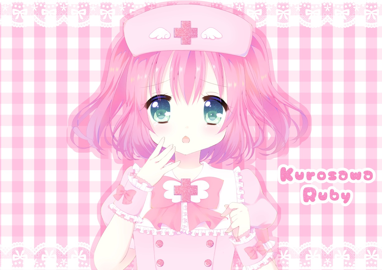 bow cross fairy_tale_75 green_eyes headdress kurosawa_ruby love_live!_school_idol_project love_live!_sunshine!! nurse pink pink_hair short_hair wristwear