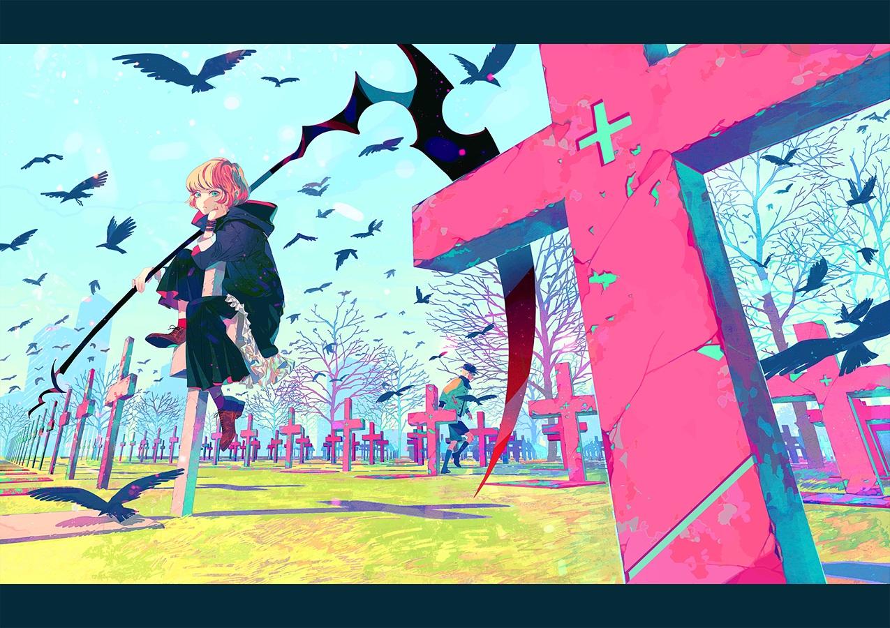 akiakane all_male animal bird blonde_hair cross green_eyes hat hoodie male original scythe short_hair tree weapon