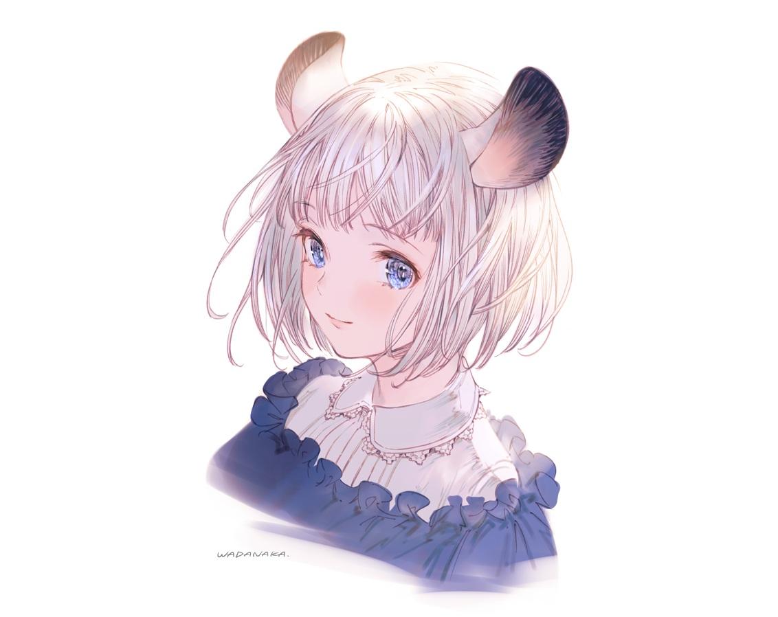 animal_ears blue_eyes lolita_fashion mousegirl original short_hair signed wadanaka white white_hair
