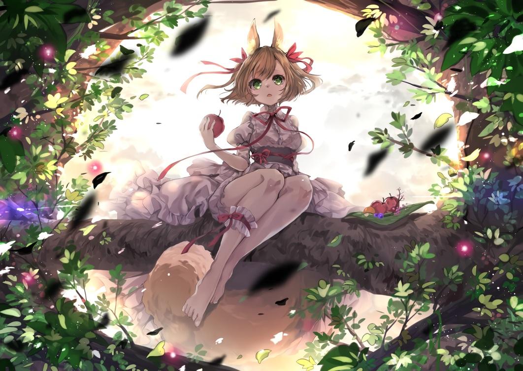 animal_ears apple barefoot food foxgirl fruit green_eyes leaves lolita_fashion orange_hair original ribbons short_hair tail tree umi_no_mizu