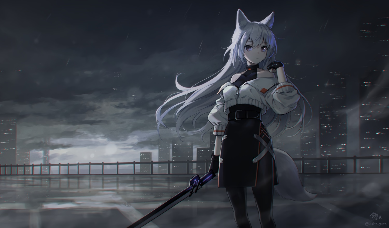 animal_ears building city clouds cropped dark garter_belt gloves gray_hair megumu original purple_eyes rain signed skirt sky sword tail water weapon