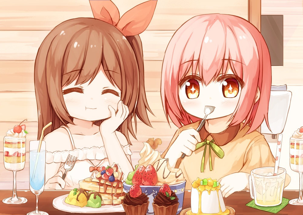 2girls brown_hair cake candy chocolate drink food fruit ice_cream loli long_hair orange_eyes original pink_hair ponytail short_hair strawberry yuuhagi