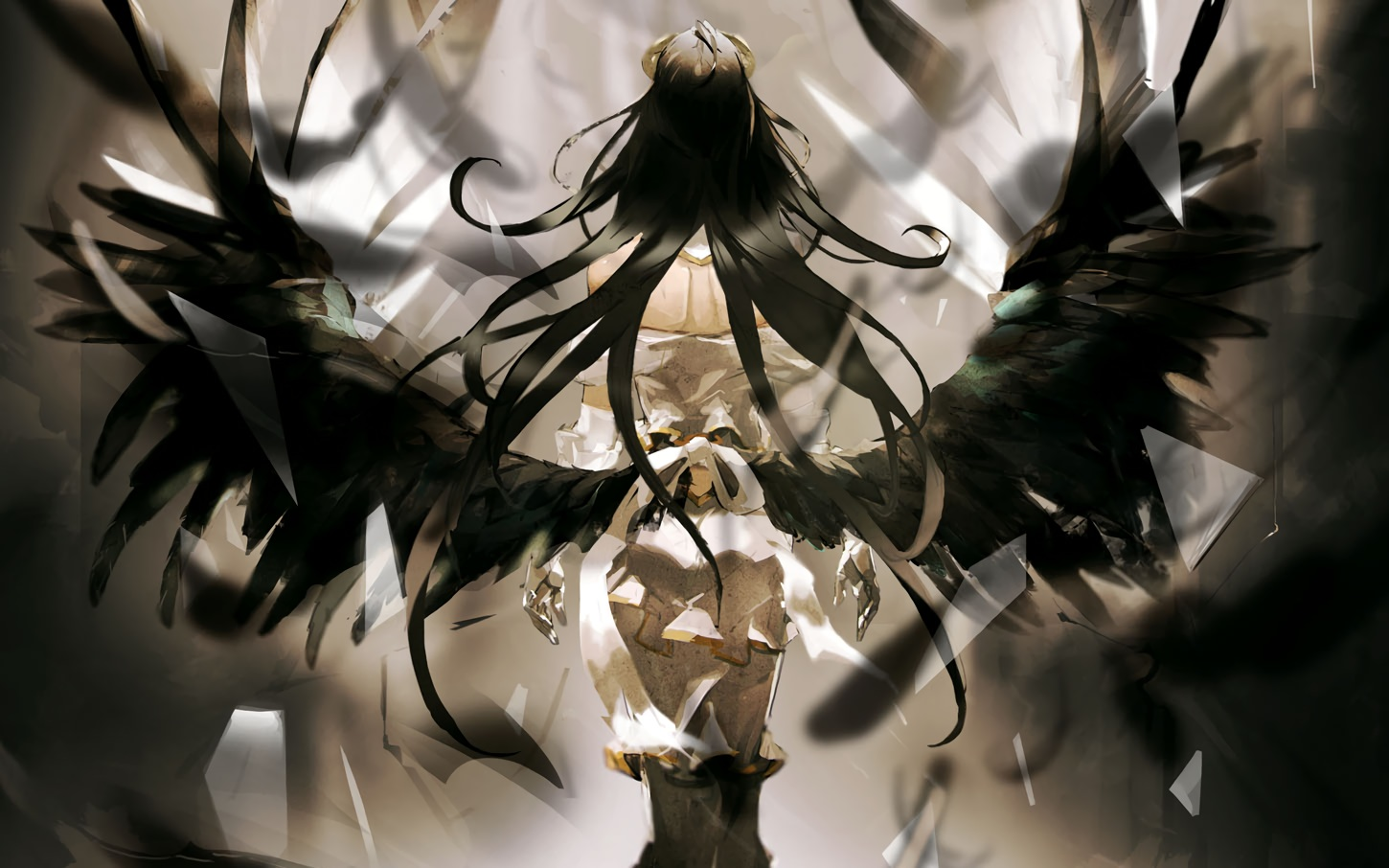 albedo black_hair cropped demon elbow_gloves gloves long_hair overlord polychromatic so-bin succubus wings
